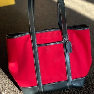 Coach Red Shoulder bag with Black Leather
